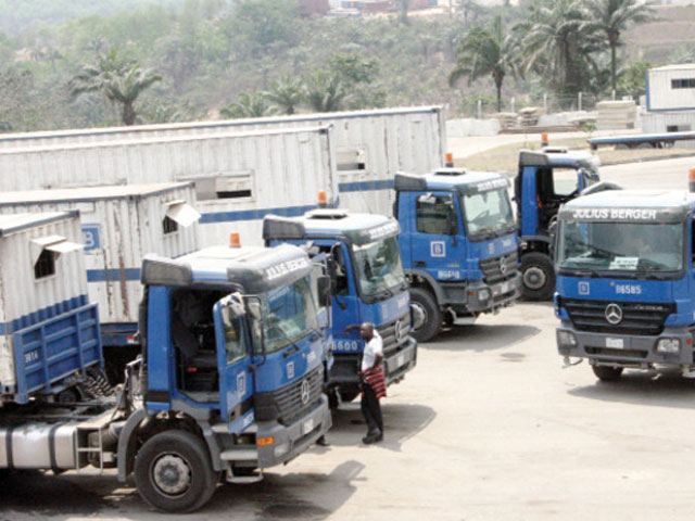 Julius Berger trucks ready for a project