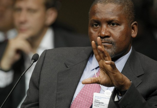Aliko Dangote, President and CEO of Nigeria's Dangote Group, makes a point during a plenary discussion on food insecurity at the World Economic Forum on Africa meeting in Cape Town