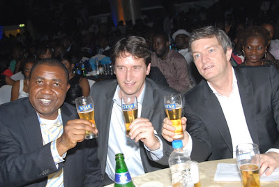 L-R Sales Director, Hubert Eze, Marketing Director-Nigerian Breweries, Walter Drenth and Managing Director- Nicolas Vervelde