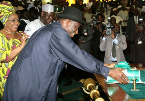 President Jonathan submitting 2012 budget proposal to National Assembly
