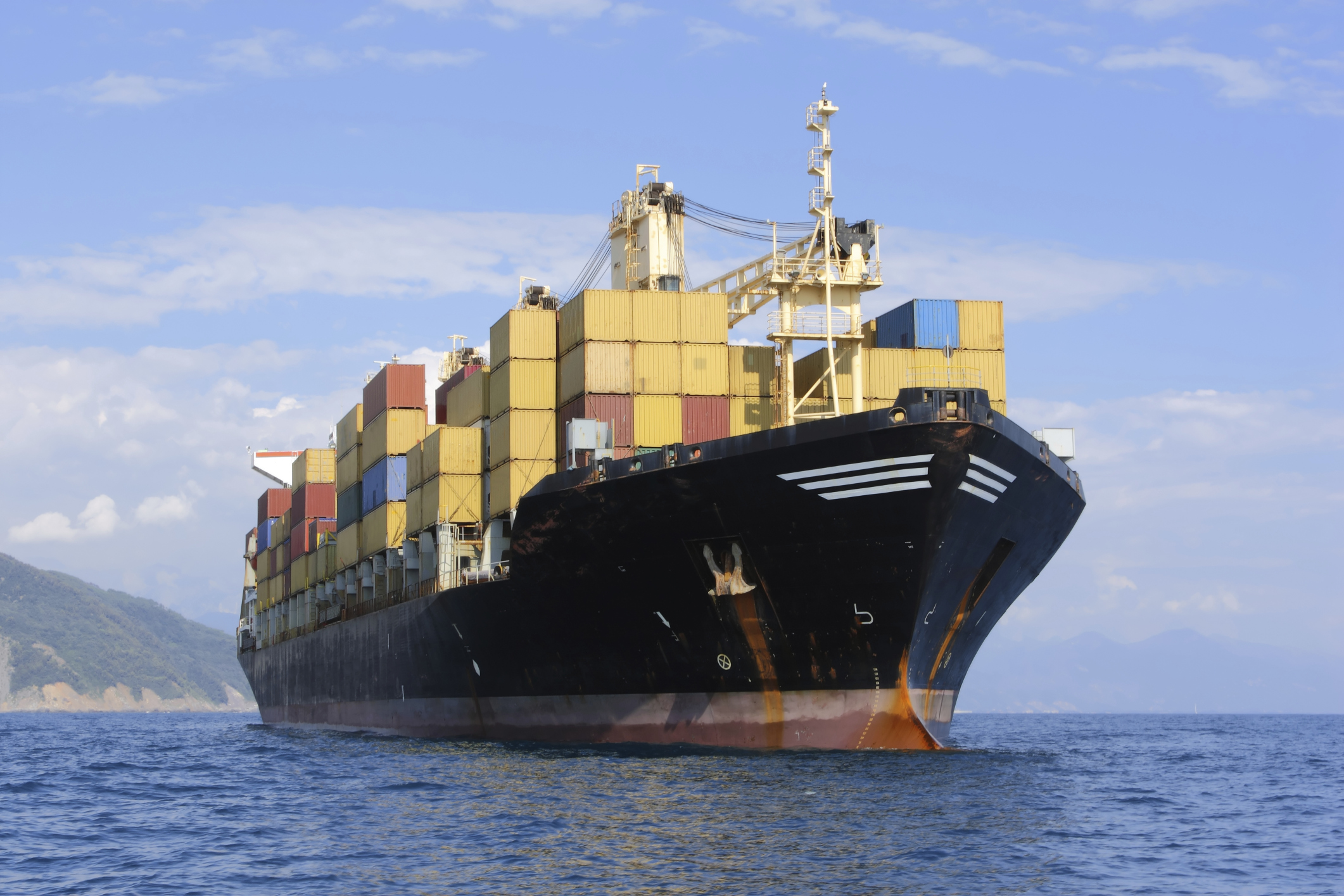 An Export Ship Loaded with Containers
