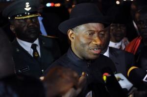 Nigerian President Goodluck Jonathan spe