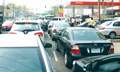 Long-queue at fuel station
